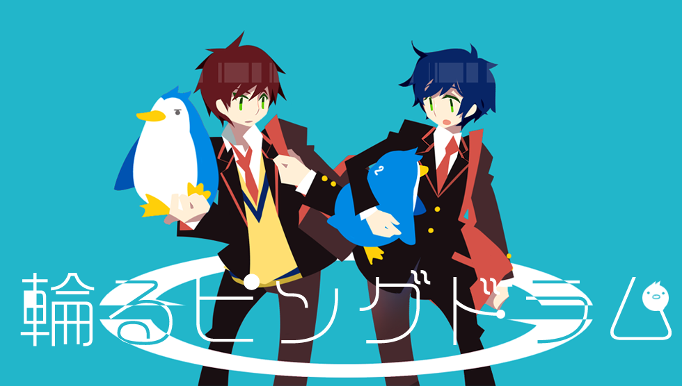 bag bird blue_hair brothers green_eyes kaku_sugar male mawaru_penguindrum multiple_boys necktie penguin penguin_1-gou penguin_2-gou red_hair redhead school_uniform shoulder_bag siblings takakura_kanba takakura_shouma