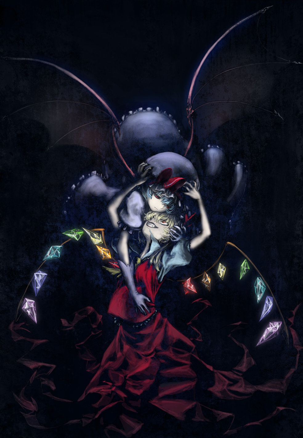 ascot bad_id bat_wings blonde_hair blue_hair crystal flandre_scarlet grin hat hat_ribbon highres kath multiple_girls puffy_sleeves red_eyes remilia_scarlet ribbon short_hair short_sleeves siblings sisters smile touhou wings