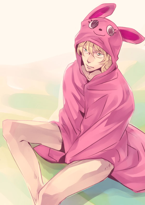 animal_ears animal_hood barnaby_brooks_jr blonde_hair bunny_ears glasses green_eyes hoodie male qen-san rabbit_ears solo tiger_&_bunny