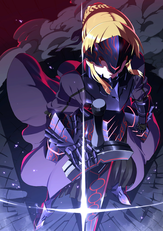 armor blonde_hair breasts dark_excalibur fate/stay_night fate_(series) faulds gauntlets glint greaves hand_on_hilt is_ii long_hair neon_trim saber saber_alter short_hair smoke solo sword visor_(armor) weapon