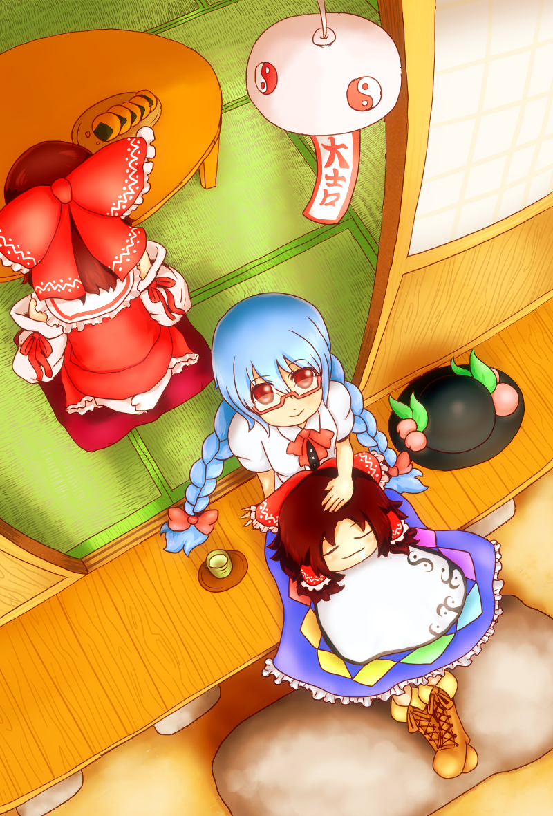 alternate_hairstyle bespectacled blue_hair blush bow braid brown_hair closed_eyes cross-laced_footwear detached_sleeves don9899 eyes_closed food fruit glasses hair_bow hakurei_reimu hat hat_removed headwear_removed hinanawi_tenshi leaf long_hair multiple_girls peach puffy_sleeves red_eyes seiza short_hair short_sleeves sitting smile table touhou twin_braids wide_sleeves yukkuri_shiteitte_ne