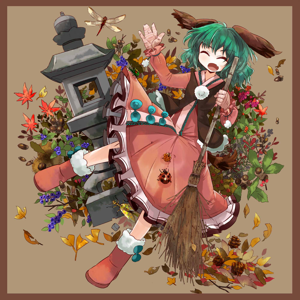 animal_ears autumn_leaves boots broom closed_eyes dragonfly dress eyes_closed fang gloves green_hair kasodani_kyouko open_mouth short_hair solo touhou uma_(shirokirin) vest wild_and_horned_hermit