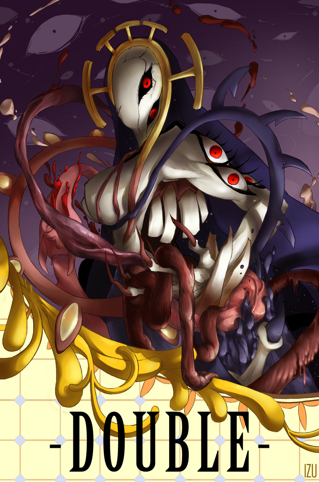blood breasts double_(skullgirls) extra_eyes highres izu_(potential_for_art) large_breasts monster nun skullgirls solo teeth