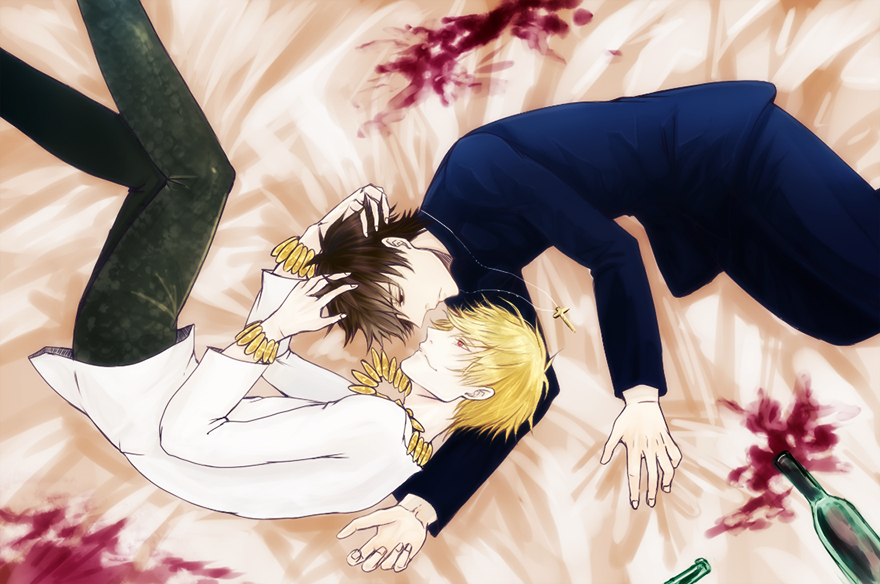 bad_id blonde_hair bracelet brown_eyes brown_hair cross cross_necklace fate/zero fate_(series) fetal_position gilgamesh jewelry kotomine_kirei male multiple_boys necklace niboboshi on_bed red_eyes spill wine