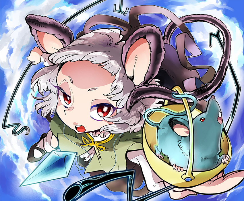 animal_ears capelet cloud clouds grey_hair hair_ornament jewelry mouse mouse_ears mouse_tail nazrin red_eyes shinoasa short_hair sky solo tail touhou