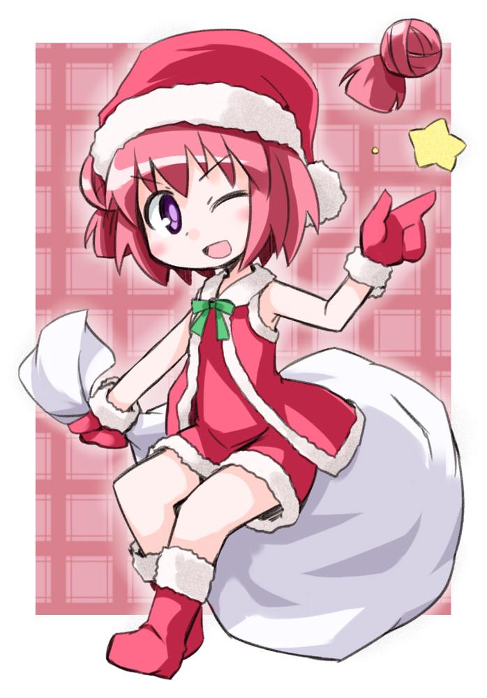 akaza_akari boots detached_hair gloves hat kugelschreiber purple_eyes red_hair redhead ribbon santa_costume solo star violet_eyes wink yuru_yuri