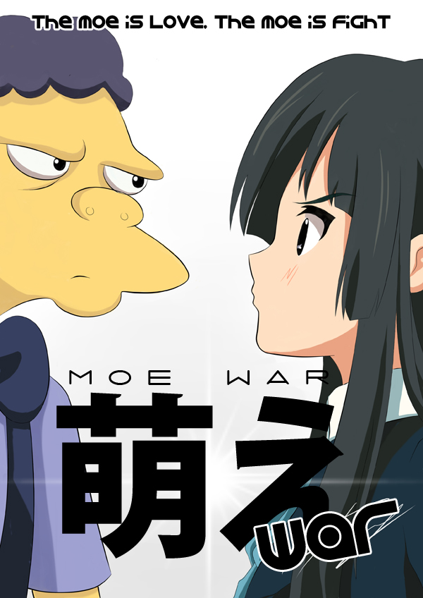 1boy 1girl 20th_century_fox anime aven bangs black_eyes black_hair blunt_bangs cartoon crossover engrish hime_cut k-on! kyoto_animation moe moe_syzlak moe_szyslak movie_poster name_joke parody poster pun ranguage school_uniform the_simpsons yellow_skin