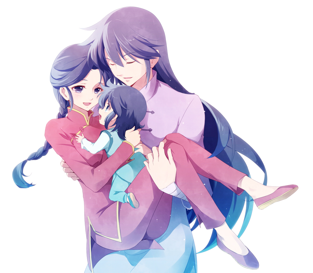 2boys braid carrying child chinese_clothes closed_eyes couple dragon_ryuuhou dragon_shiryuu family father father_and_son long_hair mother mother_and_son multiple_boys princess_carry purple_eyes purple_hair saint_seiya saint_seiya_omega short_hair shunrei simple_background sun_trial violet_eyes white_background