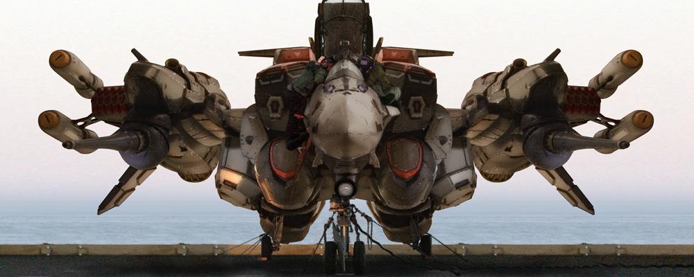 cannon cockpit engineer headgear jet jumpsuit macross macross_frontier mecha missile ocean radiation_symbol realistic robographer science_fiction vf-25 water weapon