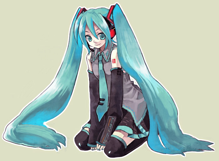hatsune_miku headphones long_hair necktie skirt thigh_highs thighhighs twintails uniform very_long_hair vocaloid yonko zettai_ryouiki