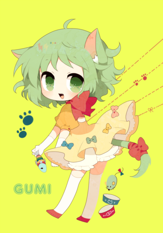 ahoge animal_ears bad_id bloomers bow cat_ears cat_food cat_tail character_name dress fang fish gloves green_eyes green_hair gumi haru_(kyou) kemonomimi_mode looking_at_viewer mouse neck_ribbon open_mouth orange_dress paw_print puffy_sleeves ribbon short_hair simple_background smile solo tail tail_ribbon thigh-highs thighhighs vocaloid white_gloves white_legwear yellow_background zettai_ryouiki