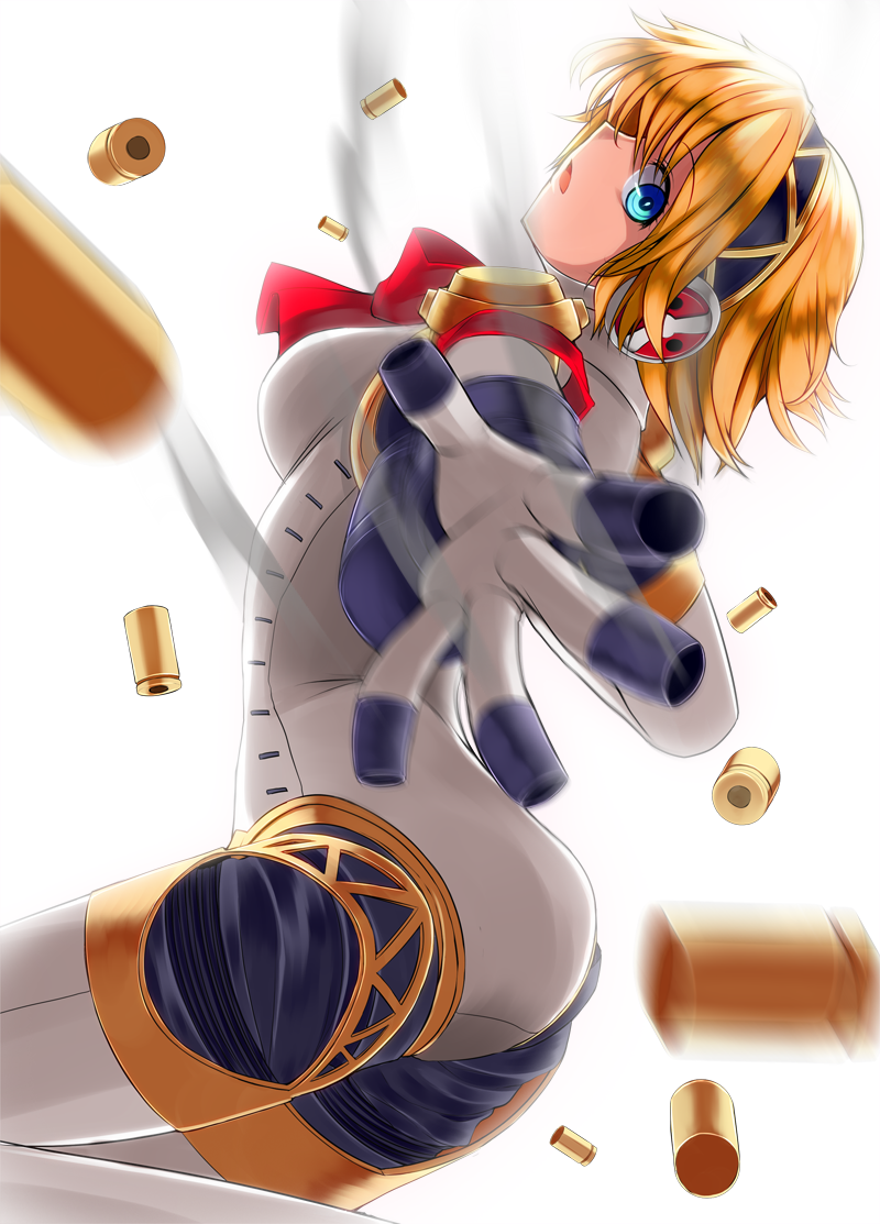 aegis android arched_back backlighting blonde_hair blue_eyes headphones iwanori open_mouth persona persona_3 reaching robot_joints shell_casing short_hair simple_background solo white_background
