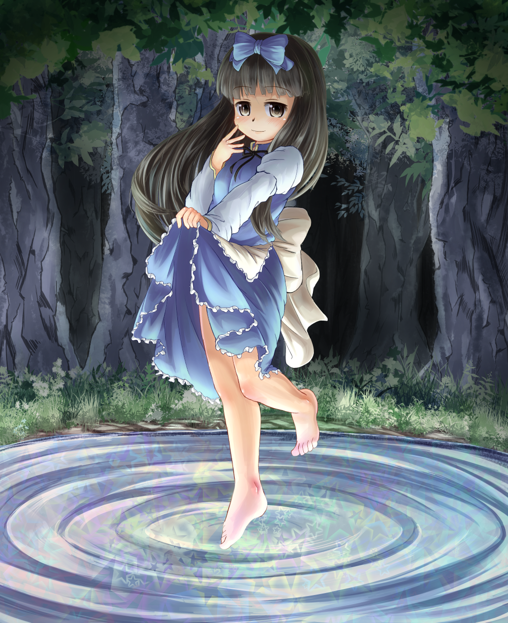 adworse apron barefoot black_hair bow dress dress_lift hair_bow highres long_hair night ribbon skirt_hold smile solo standing_on_one_leg standing_on_water star_sapphire touhou tree water yellow_eyes