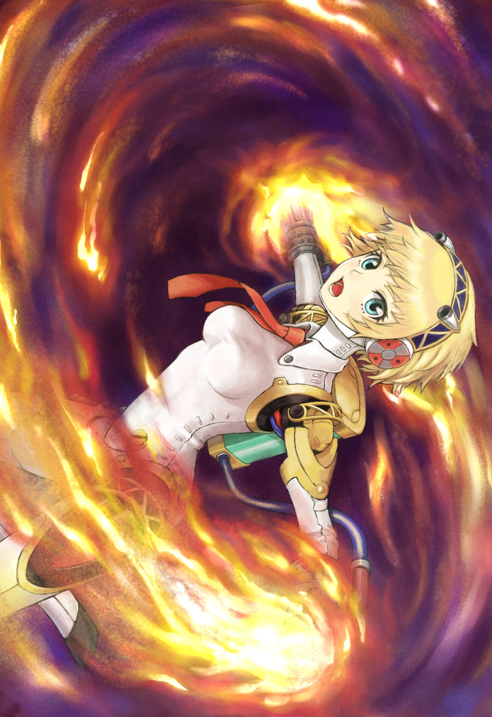 aegis amuno android blonde_hair blue_eyes fire headband highres necktie persona persona_3 persona_4:_the_ultimate_in_mayonaka_arena robot_joints short_hair