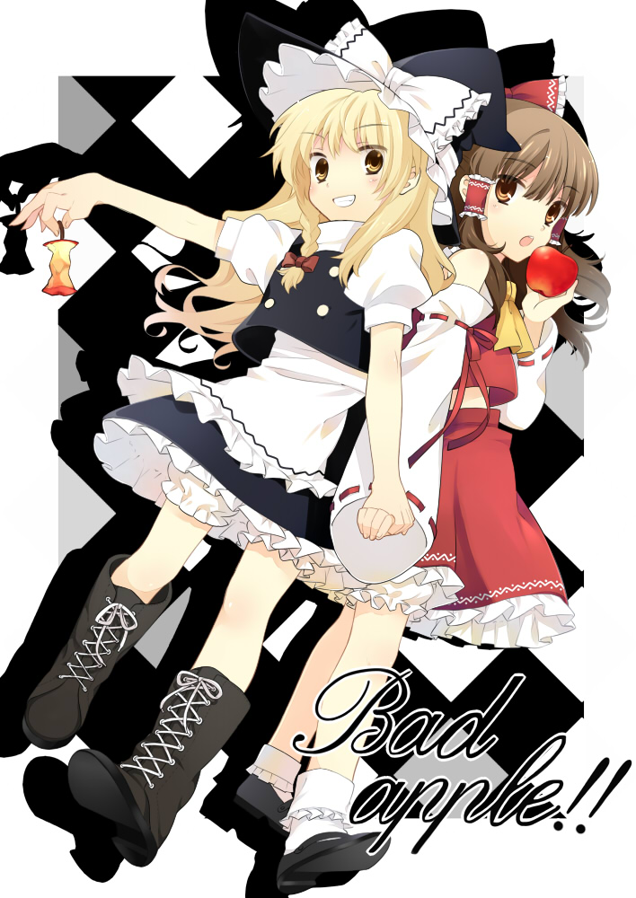 apple apple_core apron bad_apple!! blonde_hair bloomers bobby_socks boots bow brown_eyes brown_hair cross-laced_footwear food fruit grin hair_bow hakurei_reimu hanabana_tsubomi hat holding_hands kirisame_marisa lace-up_boots looking_at_viewer mary_janes shoes smile socks touhou waist_apron witch_hat yellow_eyes