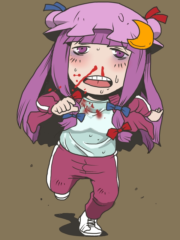 1girl alternate_costume blood bloody_clothes crescent hair_ribbon hat long_hair long_sleeves nosebleed onikobe_rin open_clothes open_jacket open_mouth pants patchouli_knowledge purple_eyes purple_hair ribbon running shirt solo sweat tennis_shoes touhou track_jacket track_pants track_suit violet_eyes