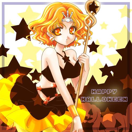 bishoujo_senshi_sailor_moon dress earrings halloween happy_halloween jack-o'-lantern jack-o'-lantern jewelry lowres mimete orange_eyes orange_hair shirataki_kaiseki short_hair solo staff star starry_background witches_5