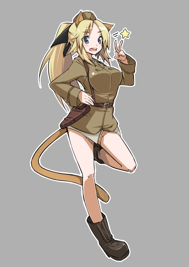 animal_ears blonde_hair blue_eyes boots grey_background hat katharine_ohare long_hair military military_uniform nacl open_mouth ponytail simple_background solo star strike_witches tail uniform