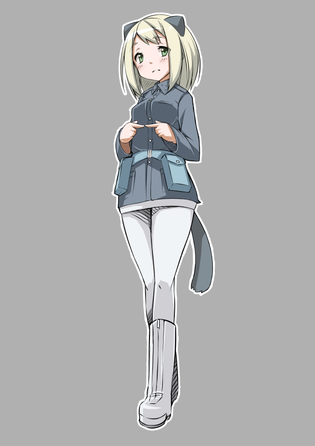 animal_ears blonde_hair blush boots elma_leivonen green_eyes grey_background military military_uniform nacl pantyhose short_hair simple_background solo strike_witches tail uniform white_legwear