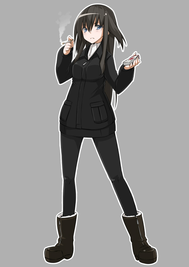 black_hair blue_eyes boots cigarette elizabeth_f_beurling grey_background long_hair military military_uniform nacl pantyhose simple_background solo strike_witches uniform