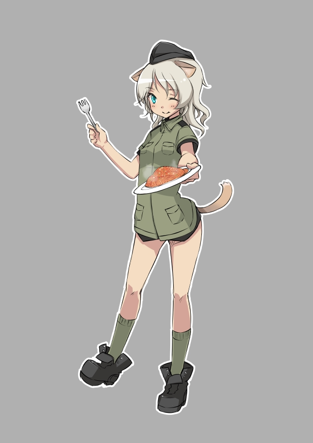 animal_ears blue_eyes fork giuseppina_ciuinni grey_background grey_hair hat long_hair military military_uniform nacl simple_background smile solo spaghetti strike_witches tail uniform wink