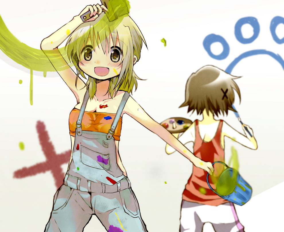 :d art_brush back blonde_hair brown_hair bucket cat_paw collarbone hair_ornament hairclip hidamari_sketch karaage_(torikkk) miyako multiple_girls open_mouth overalls paint paintbrush palette short_hair smile tank_top trim_brush tubetop yellow_eyes yuno