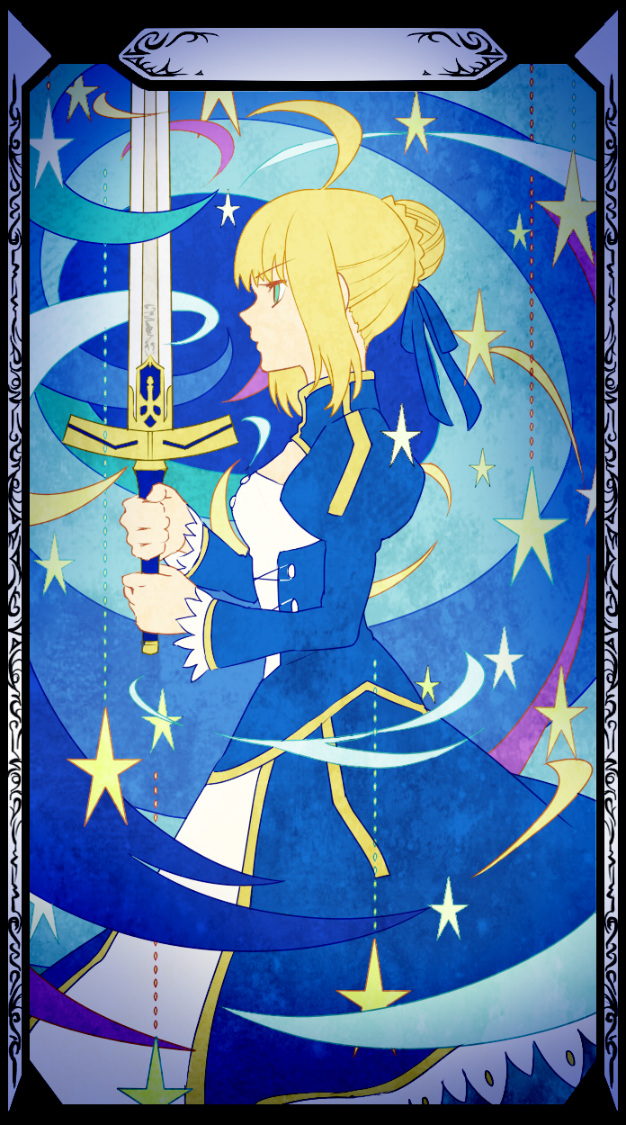 ahoge art_nouveau blonde_hair dress excalibur fate/stay_night fate/zero fate_(series) green_eyes hair_ribbon highres invisible_air piroshiki123 ribbon saber solo sword weapon