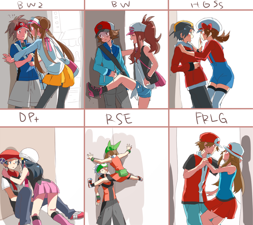 6+girls against_wall bad_id bag bandana bandanna bare_legs baseball_cap beanie black_hair blue_(pokemon) blush boots bow brown_hair cabbie_hat chart cicada_block denim denim_shorts double_bun eye_contact gold_(pokemon) haruka_(pokemon) haruka_(pokemon_emerald) hat hat_ribbon hikari_(pokemon) jacket kneehighs kotone_(pokemon) kouki_(pokemon) kyouhei_(pokemon) long_hair looking_at_another mei_(pokemon) miniskirt multiple_boys multiple_girls naru_(andante) overalls pantyhose pokemon pokemon_(game) pokemon_bw pokemon_bw2 pokemon_dppt pokemon_frlg pokemon_hgss pokemon_rse ponytail red_(pokemon) red_(pokemon)_(remake) ribbon scarf short_hair shorts shoulder_bag skirt smile thigh-highs thighhighs title_drop touko_(pokemon) touya_(pokemon) twintails visor_cap you_gonna_get_raped yuuki_(pokemon) yuuki_(pokemon_emerald)