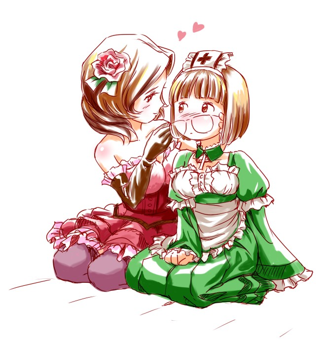 blush breasts brown_hair deathsmiles dress elbow_gloves eye_contact flower follett glasses gloves hair_flower hair_ornament hand_on_another's_face hand_on_another's_face heart jkt_(sheltem) looking_at_another multiple_girls rosa_(deathsmiles) seiza short_hair sitting smile yuri