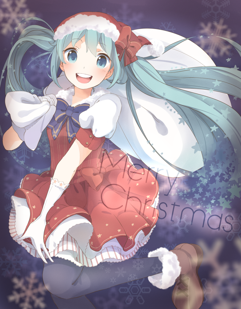 aqua_eyes aqua_hair christmas dress gloves hat hatsune_miku kana_(okitasougo222) long_hair open_mouth pantyhose sack santa_hat solo twintails vocaloid