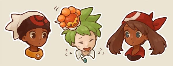 1girl 2boys bandana bandanna castform closed_eyes dark_skin green_hair haruka_(pokemon) headshot ikra_(katacoly) mitsuru_(pokemon) multiple_boys pokemon pokemon_(creature) pokemon_(game) pokemon_rse yuuki_(pokemon)