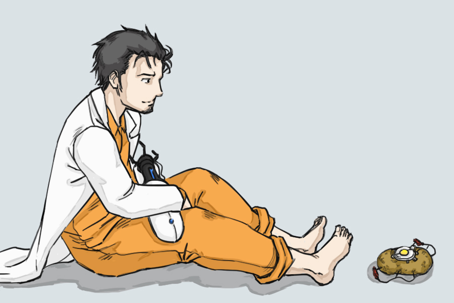 1boy aperture_science_handheld_portal_device barefoot bb_(baalbuddy) black_hair chell chell_(cosplay) cosplay crossover facial_hair glados jumpsuit labcoat okabe_rintarou portal portal_2 potato simple_background spoilers steins;gate stubble