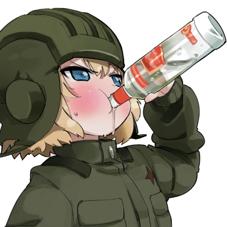 1girl :t alcohol artist_request blonde_hair blue_eyes blush bottle drinking girls_und_panzer helmet katyusha military military_jacket military_uniform russia simple_background smirnoff_(vodka) solo uniform vodka white_background