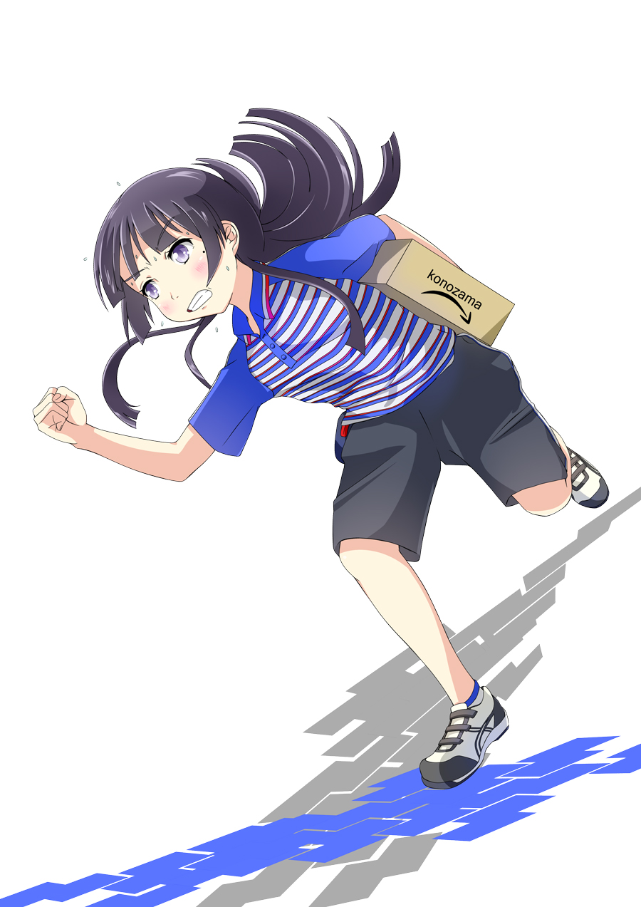1girl black_hair blue_eyes box gokou_ruri highres long_hair miro_(mmmyyyy) ore_no_imouto_ga_konna_ni_kawaii_wake_ga_nai running shirt striped striped_shirt