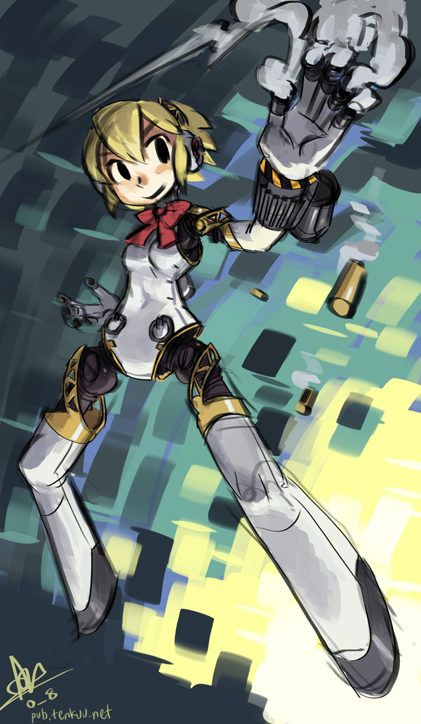 1girl aegis alex_ahad android blonde_hair bow full_body persona persona_3 robot_joints rough shell_casing short_hair signature smoke solo watermark web_address