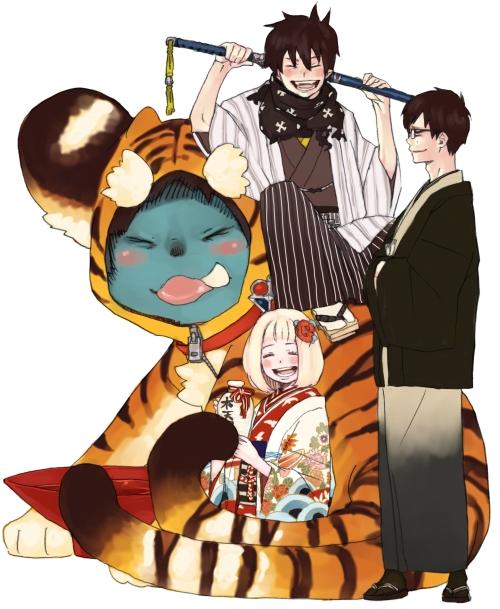 animal_costume ao_no_exorcist closed_eyes eyes_closed japanese_clothes katana kazue_kato kuro_(ao_no_exorcist) moriyama_shiemi official_art okumura_rin okumura_yukio smile sword tiger_costume tiger_print weapon