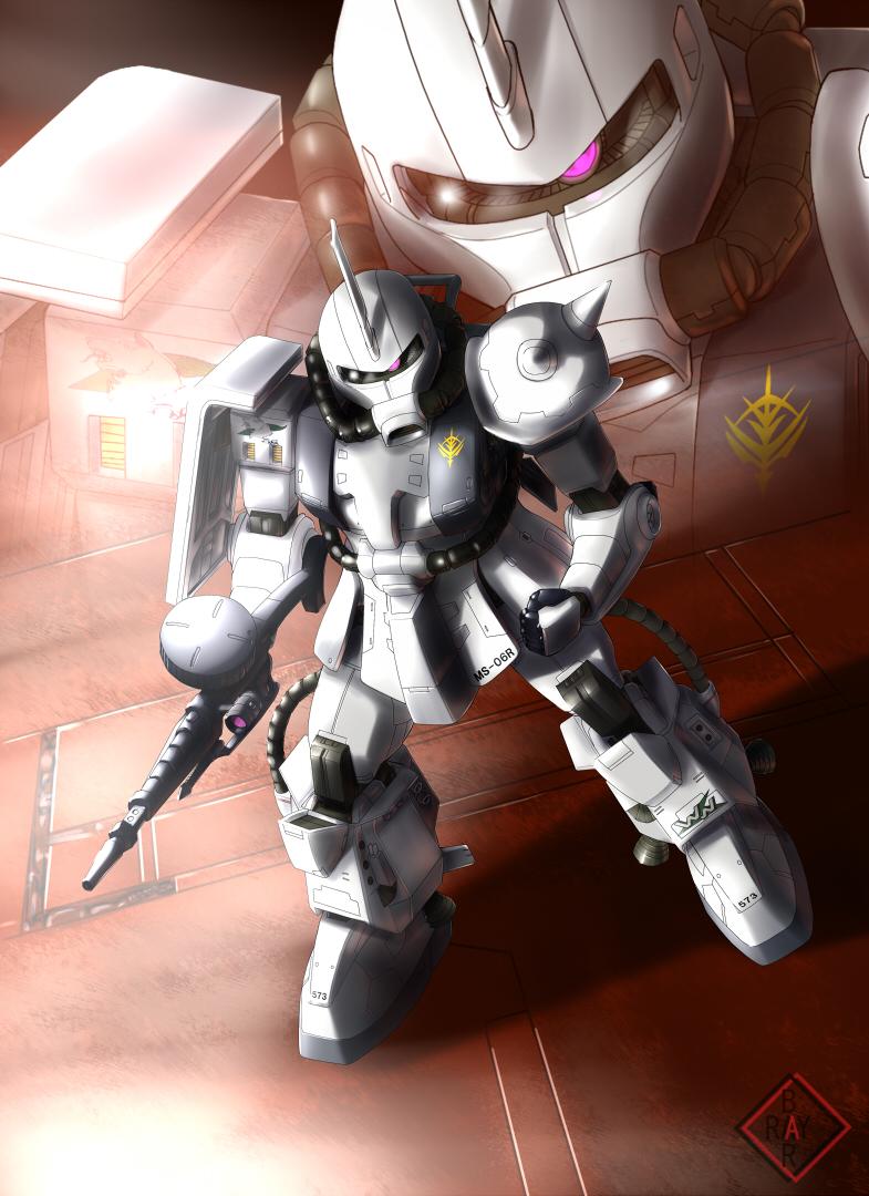 gun gundam machine_gun raybar shin_matsunaga space space_craft weapon zaku_ii zaku_ii_s_shin_matsunaga_custom zeon