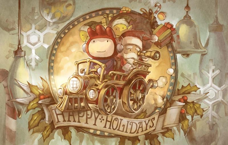 candy_cane car christmas edison_yan elf english gift hat holly locomotive maxwell motor_vehicle ornament pointy_ears sack santa_claus scribblenauts smile snowflakes steam_locomotive telescope train vehicle