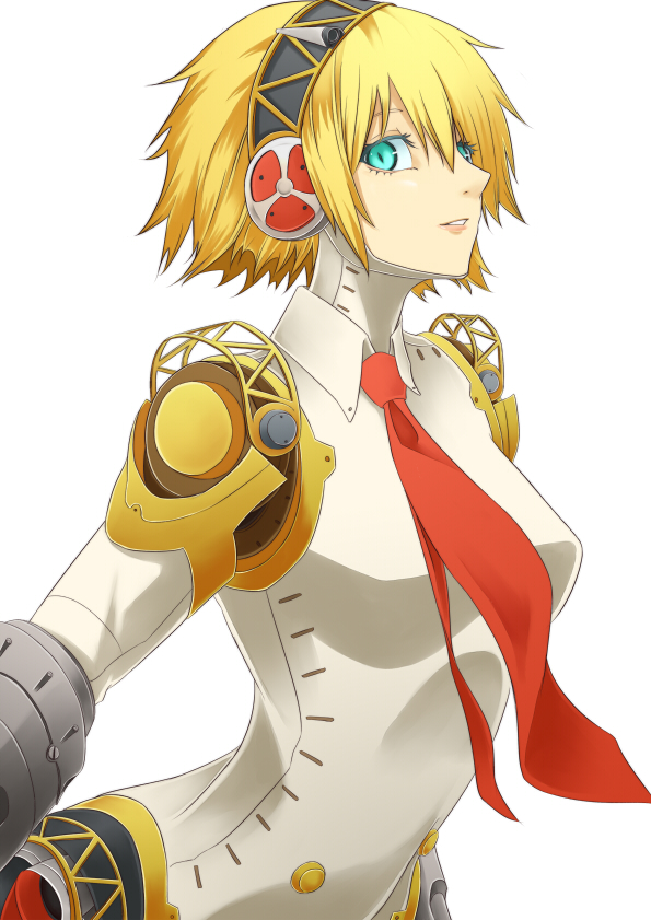 1girl aegis android blonde_hair cyborg green_eyes necktie persona persona_3 persona_4:_the_ultimate_in_mayonaka_arena robot_joints simple_background smile solo