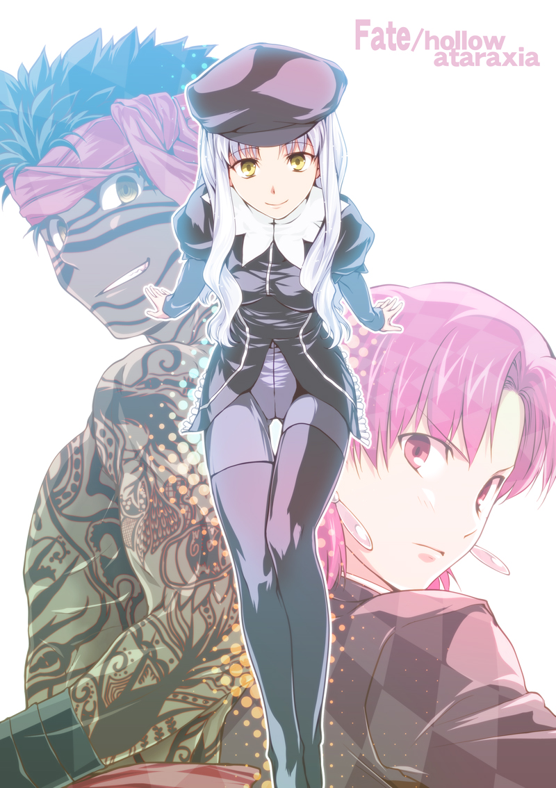 1boy 2girls avenger bandana bazett_fraga_mcremitz black_hair brown_eyes caren_hortensia dark_skin earrings fate/hollow_ataraxia fate_(series) formal full_body_tattoo hat headband jewelry long_hair multiple_girls nekotawa pant_suit pantyhose purple_hair silver_hair suit tattoo violet_eyes white_hair yellow_eyes