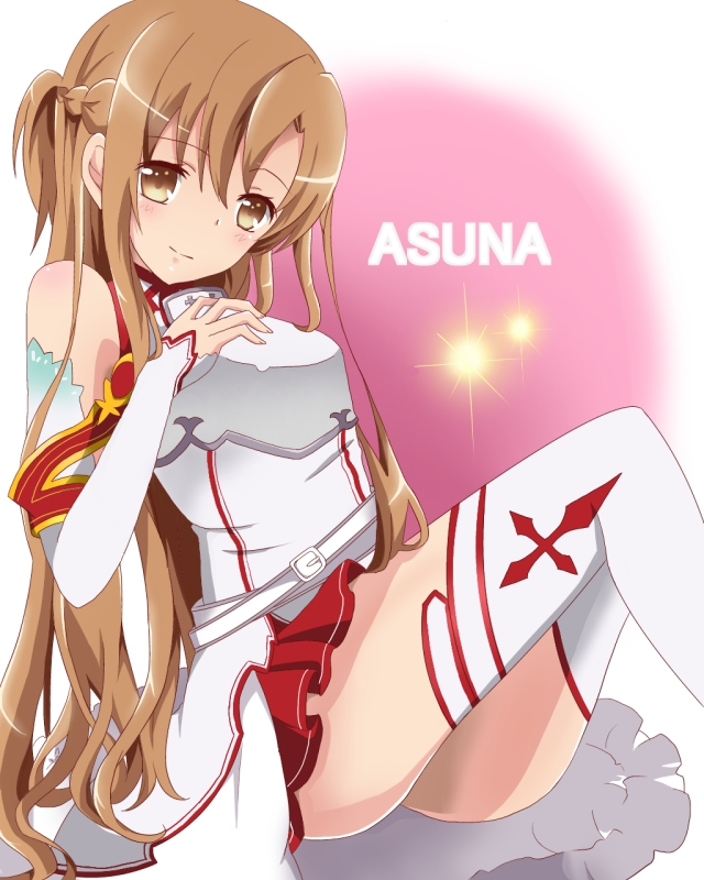 1girl asuna_(sao) breastplate brown_eyes brown_hair hanazono_(hananoko) long_hair sword_art_online thigh-highs yuuki_asuna