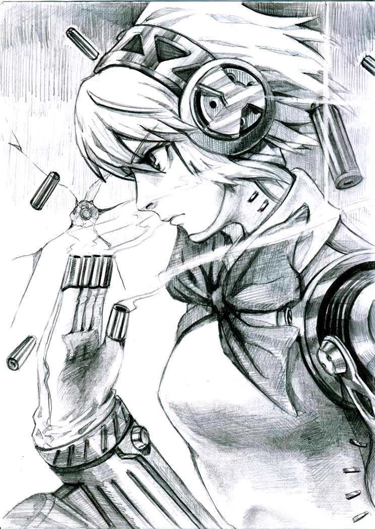 aegis android bow monochrome persona persona_3 ribbon robot_joints shell_casing solo