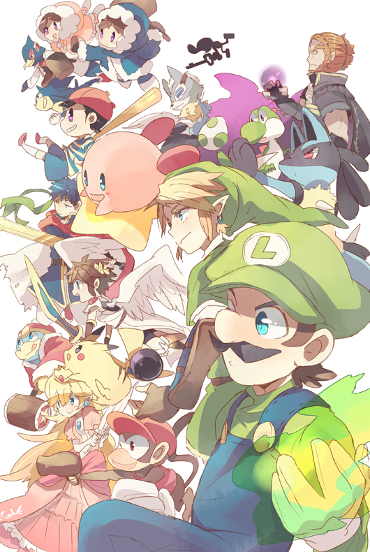 armor baseball_bat blonde_hair blue_eyes blue_hair brown_hair cape crown diddy_kong donkey_kong_(series) earrings facial_hair falco_lombardi fire_emblem fire_emblem:_souen_no_kiseki ganondorf gloves hammer hat headband hood ice_climber ice_climbers ike jewelry kid_icarus king_dedede kirby kirby_(series) link long_hair lucario luigi mother_(game) mother_2 mr._game_&_watch mustache nana_(ice_climber) ness nintendo pikachu pit_(kid_icarus) pointy_ears pokemon popo_(ice_climber) princess_peach red_eyes redhead satori smile sonic sonic_the_hedgehog star_fox super_mario_bros. super_smash_bros. sword the_legend_of_zelda twilight_princess weapon wings wolf_o'donnell yoshi