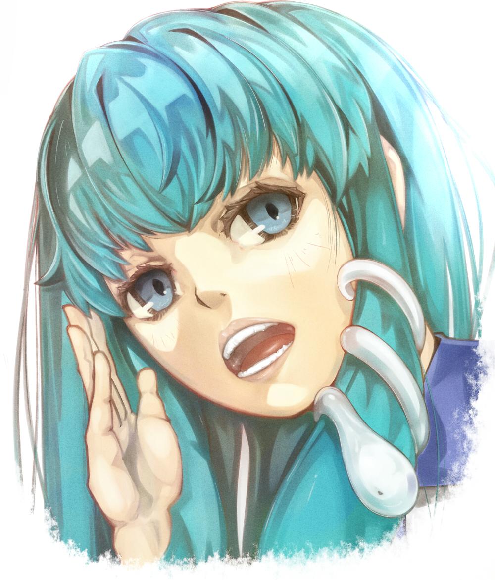 1girl close-up green_eyes green_hair head kochiya_sanae open_mouth snake_hair_ornament solo str-natural teeth touhou