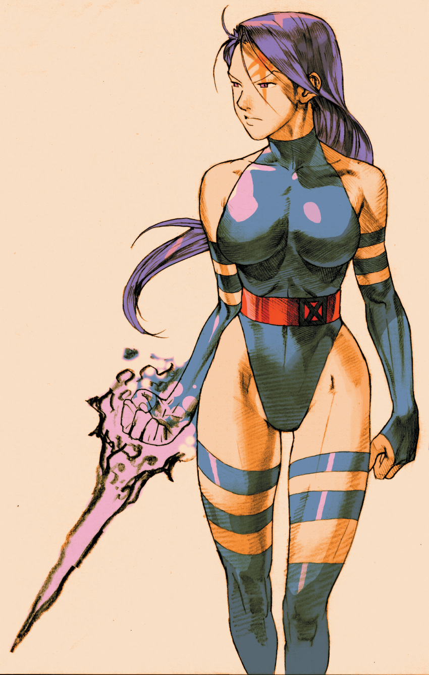 bengus breasts bridal_gauntlets capcom elbow_gloves energy_blade gloves glowing highleg highres leotard lipstick long_hair marvel marvel_vs._capcom marvel_vs._capcom_2 marvel_vs_capcom pink_eyes psylocke purple_hair skin_tight solo standing tattoo thigh-highs thighhighs x-men