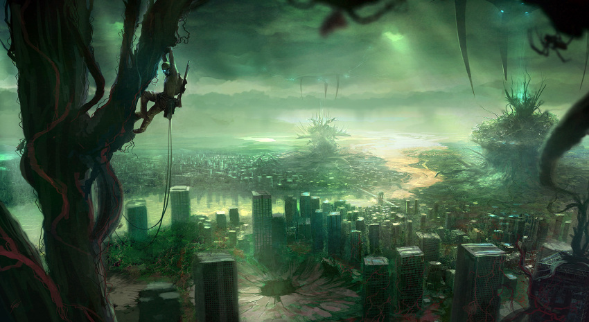 blurry building city cityscape climbing cloudy_sky depth_of_field forest gary_tonge gun landscape nature original overgrown plant post-apocalyptic rifle river rope ruins scenery science_fiction solo spider sunbeam sunlight tree wallpaper weapon