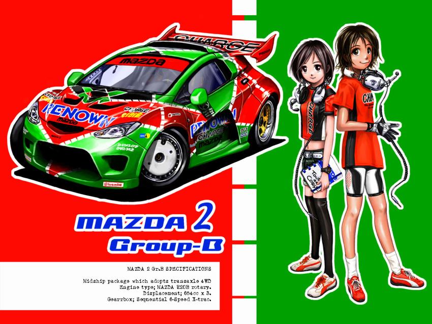 2girls car earphones gloves mazda mazda_2 original racing vehicle