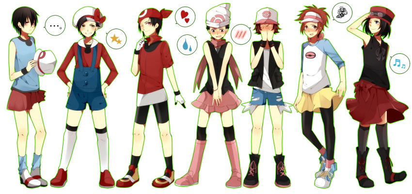 6+boys blue_(pokemon)_(cosplay) calme_(pokemon) cosplay costume_switch crossdressing gold_(pokemon) haruka_(pokemon)_(cosplay) highres hikari_(pokemon)_(cosplay) kotone_(pokemon)_(cosplay) kouki_(pokemon) kyouhei_(pokemon) multiple_boys pokemon pokemon_(game) pokemon_bw pokemon_bw2 pokemon_dppt pokemon_gsc pokemon_hgss pokemon_rgby pokemon_rse pokemon_xy red_(pokemon) rento_(ayato) serena_(pokemon)_(cosplay) touko_(pokemon)_(cosplay) touya_(pokemon) yuuki_(pokemon)