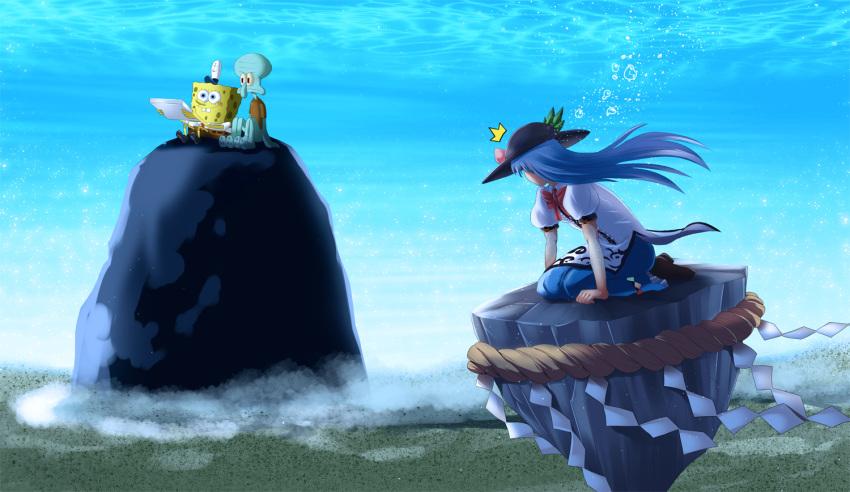 /\/\/\ 1girl 2boys blue_hair crossover food fruit haryudanto hat hinanawi_tenshi keystone long_hair multiple_boys peach pizza_box rock spongebob_squarepants spongebob_squarepants_(character) squidward_tentacles touhou underwater