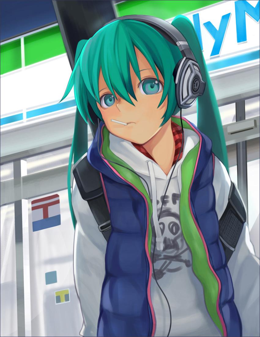 1girl aqua_eyes aqua_hair family_mart hatsune_miku headphones highres kari_kenji solo twintails vocaloid